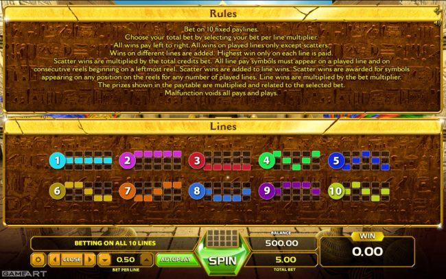 Play slots at Vegas Crest: Vegas Crest featuring the Video Slots Ramses Treasure with a maximum payout of $1,000