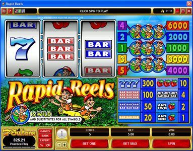 Casino Mate featuring the Video Slots Rapid Reels with a maximum payout of $30,000