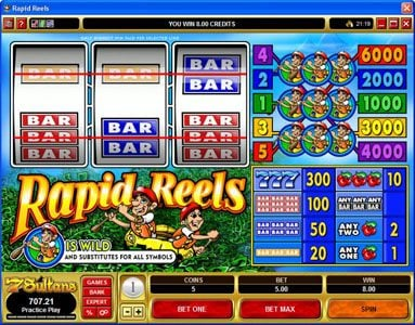 Casino Red Kings featuring the Video Slots Rapid Reels with a maximum payout of $30,000