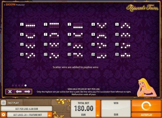 Sin Spins featuring the Video Slots Rapunzel's Tower (old) with a maximum payout of $180,000