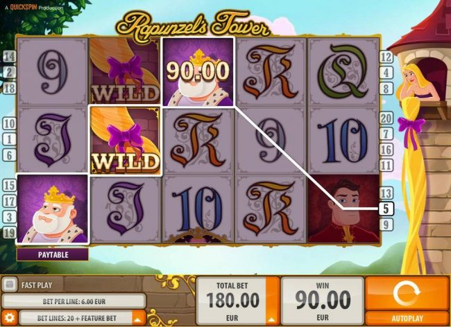 VIP Casino featuring the Video Slots Rapunzel's Tower (old) with a maximum payout of $180,000