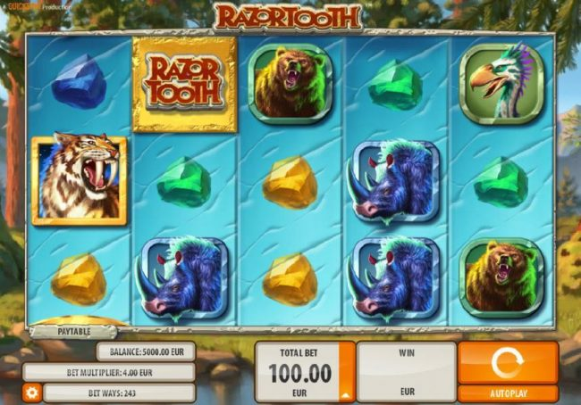 Norskespill featuring the Video Slots Razortooth with a maximum payout of $20,000