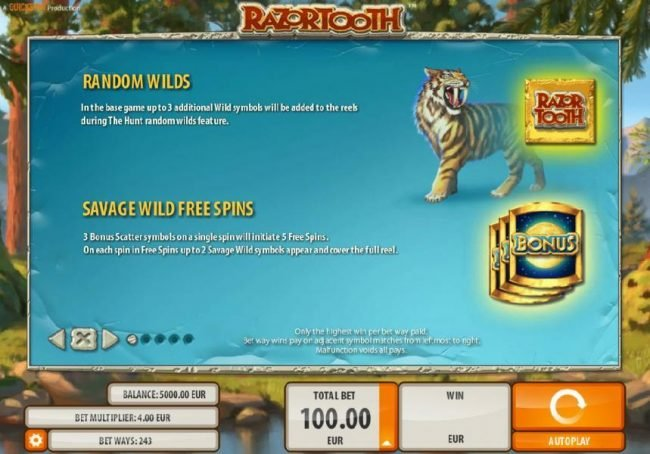 Energy featuring the Video Slots Razortooth with a maximum payout of $20,000