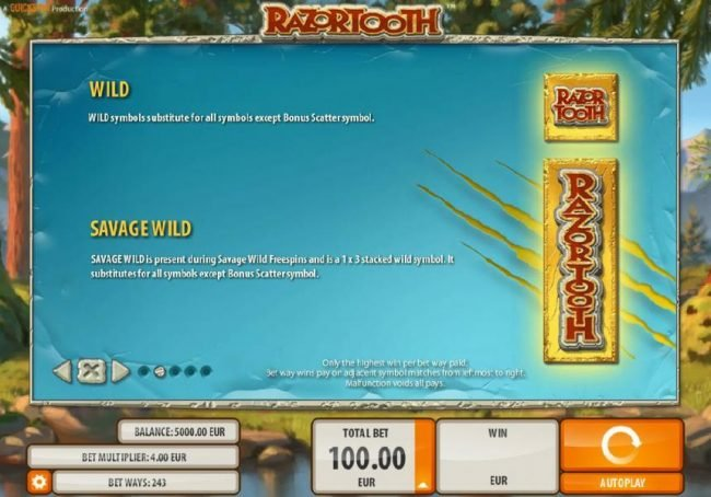 7Bit featuring the Video Slots Razortooth with a maximum payout of $20,000