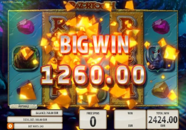 King Billy featuring the Video Slots Razortooth with a maximum payout of $20,000