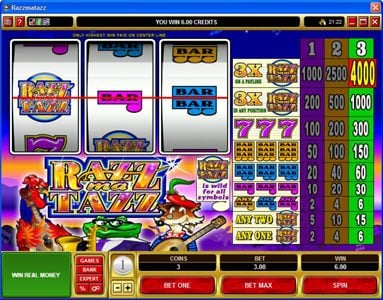 21 Jackpots featuring the Video Slots Razzmatazz with a maximum payout of $20,000