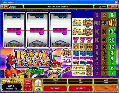 Yukon Gold featuring the Video Slots Razzmatazz with a maximum payout of $20,000