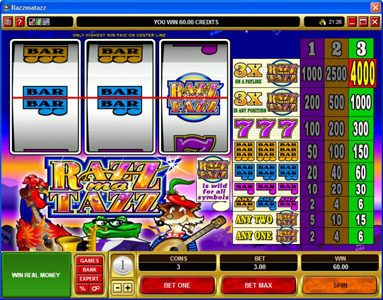 Casino Extra featuring the Video Slots Razzmatazz with a maximum payout of $20,000