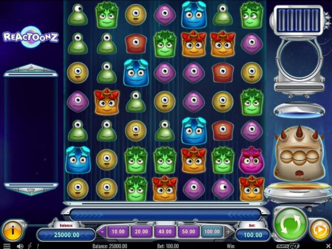 Go Wild featuring the Video Slots Reactoonz with a maximum payout of $75,000