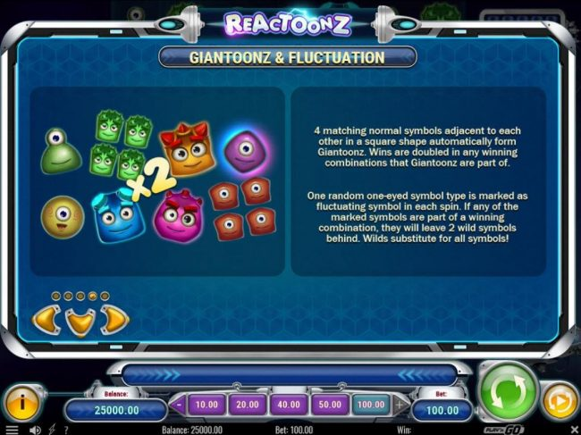 Crazy vegas featuring the Video Slots Reactoonz with a maximum payout of $75,000