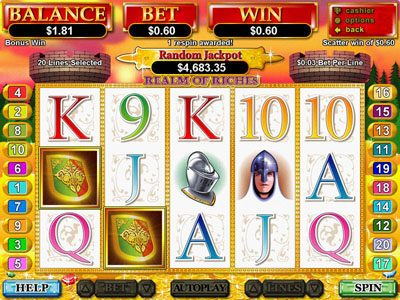 Slotter featuring the Video Slots Realm of Riches with a maximum payout of $250,000