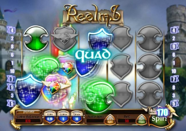 Platinum Reels featuring the Video Slots Realms with a maximum payout of $18,750