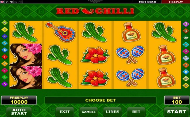 24K Casino featuring the Video Slots Red Chilli with a maximum payout of $50,000