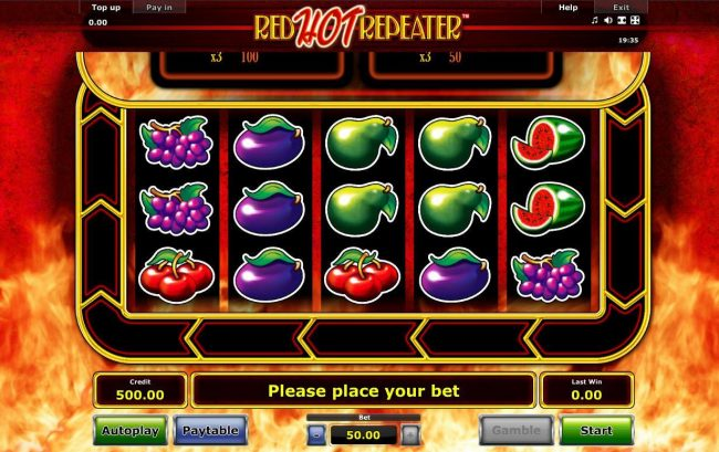 A fruit themed main game board featuring five reels and 10 paylines with a $50,000 max payout