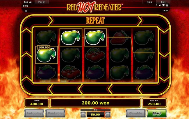 A 200.00 win triggered by a pair of winning Three of a Kinds.