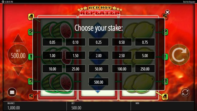 Chomp featuring the Video Slots Red Hot Repeater with a maximum payout of $250,000