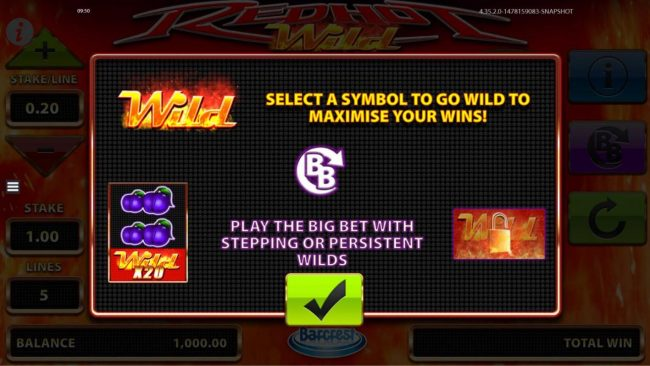 Play slots at Slots Angel: Slots Angel featuring the Video Slots Red Hot Wild with a maximum payout of $50,000