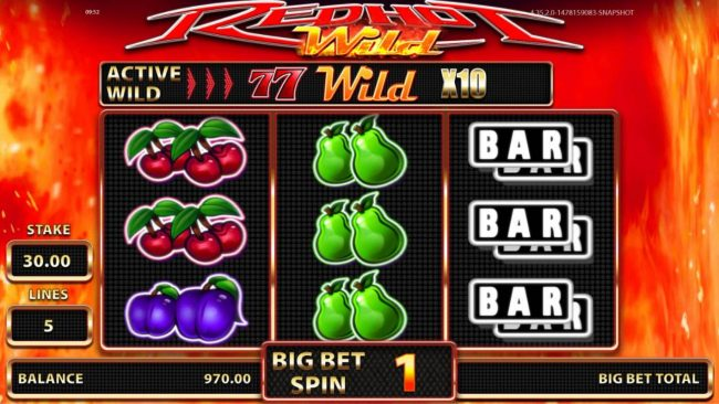 DruckGluck featuring the Video Slots Red Hot Wild with a maximum payout of $50,000