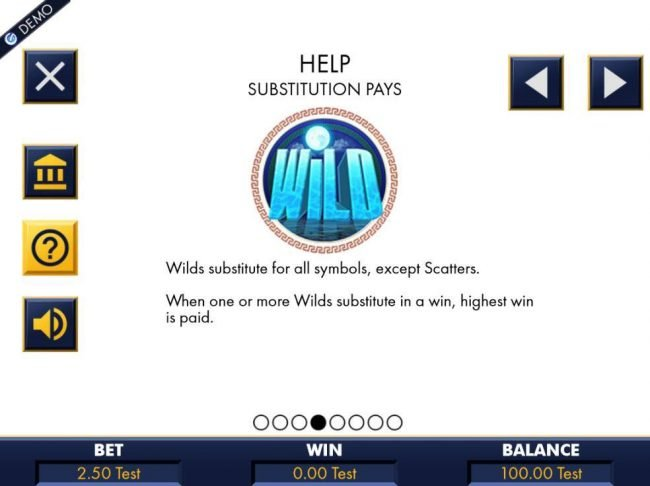 A wild symbol is represented by a full moon and substitutes for all symbols, except scatters. When one or more wilds substitute in a win, highest win is paid.