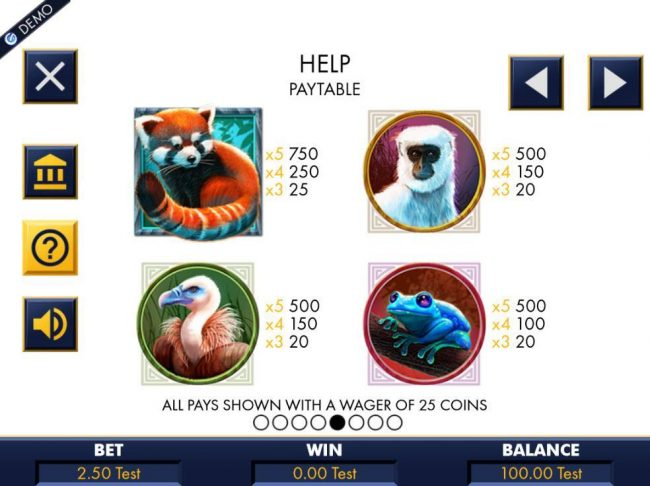 High value slot game symbols paytable featuring four different animals.