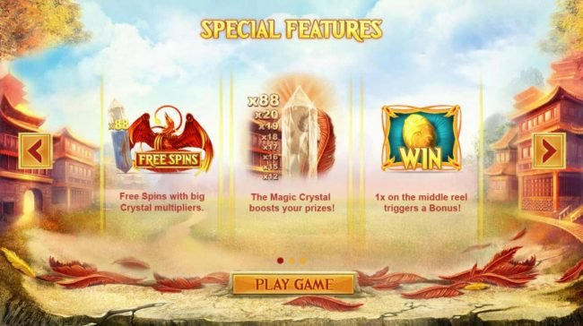 Red Phoenix Rising :: Special Features - Free Spins, Magic Crystal and Bonus.