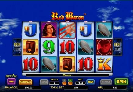 Play slots at Sun Play: Sun Play featuring the Video Slots Red Baron with a maximum payout of $37,500