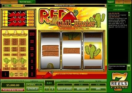Play slots at Crystal Casino Club: Crystal Casino Club featuring the Video Slots Red Chili Hunter with a maximum payout of $30,000