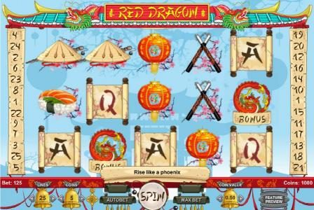 Red Dragon :: Main game board featuring five reels and 25 paylines with a $22,500 max payout