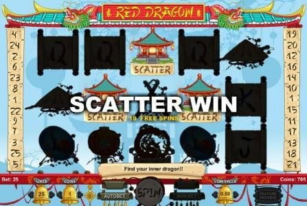 Red Dragon :: Three scatter scatter symbols triggers free spins feature