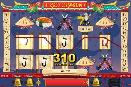 Red Dragon :: Multiple winning paylines triggers a big win during the free spins feature!