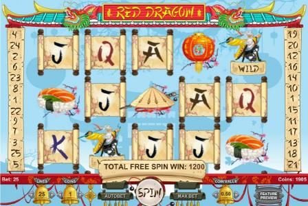 Red Dragon :: The free spins feature pays out a total of 1200 coins for super big win!