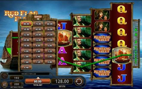 Red Flag Fleet :: Click on the TOTAL BET arrow and you can change the bet level of your preference.