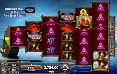 Red Flag Fleet :: Multiple winning paylines triggers a 2,784.00 super win!