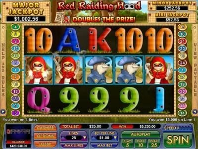 Play slots at Slot Madness: Slot Madness featuring the Video Slots Red Raiding Hood with a maximum payout of $7,500