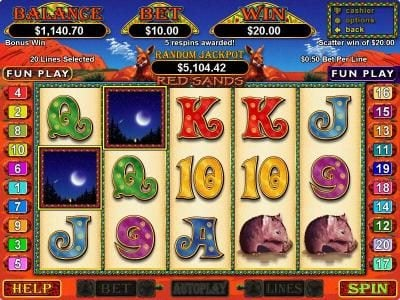 Play slots at Dreams: Dreams featuring the Video Slots Red Sands with a maximum payout of $25,000