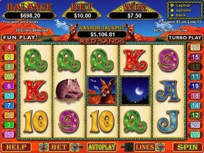 Play slots at Free Spin: Free Spin featuring the Video Slots Red Sands with a maximum payout of $25,000