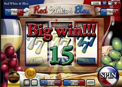 Mayan Fortune featuring the Video Slots Red White & Bleu with a maximum payout of $150,000