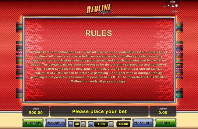 Redline Racer :: General Game Rules