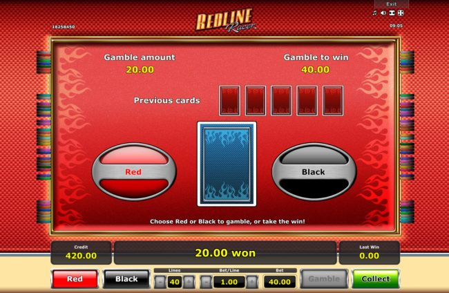 Redline Racer :: Red or Black Gamble feature
