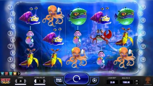 Go Wild featuring the Video Slots Reef Run with a maximum payout of $20,000