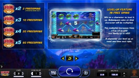 Zet Casino featuring the Video Slots Reef Run with a maximum payout of $20,000