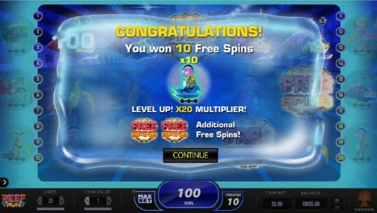 Videoslots featuring the Video Slots Reef Run with a maximum payout of $20,000