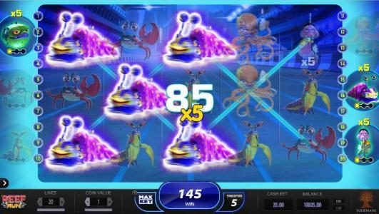 Lucky Me Slots featuring the Video Slots Reef Run with a maximum payout of $20,000
