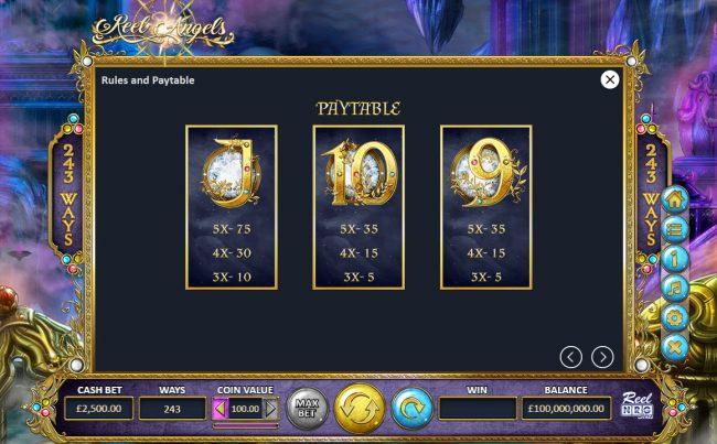 Reel Angels :: Low Value Symbols