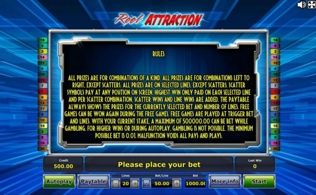 Winner Million featuring the Video Slots Reel Attraction with a maximum payout of $1,000,000