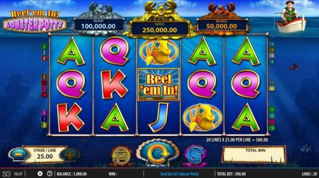 Play slots at Yeti Casino: Yeti Casino featuring the Video Slots Reel 'em In! Lobster Potty with a maximum payout of $250,000