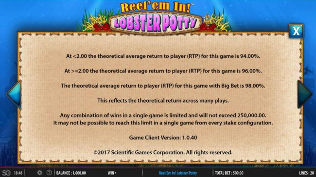 Powerspins featuring the Video Slots Reel 'em In! Lobster Potty with a maximum payout of $250,000