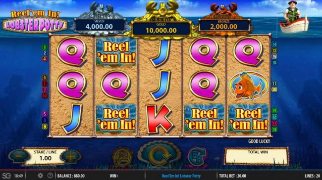 CasinoCasino featuring the Video Slots Reel 'em In! Lobster Potty with a maximum payout of $250,000