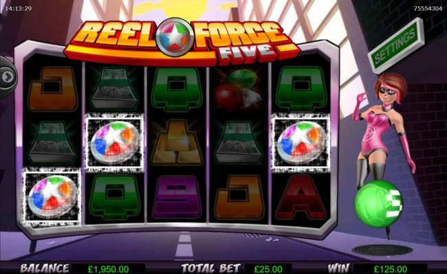 Reel Vegas featuring the Video Slots Reel Force 5 with a maximum payout of $250,000