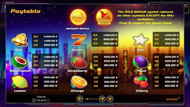 Reel Million Slot :: Paytable